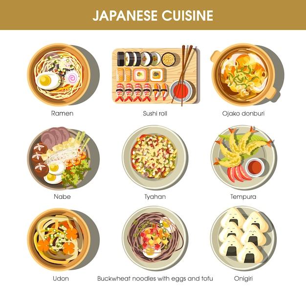 Tradycyjne Dania Kuchni Japońskiej Wektor Płaski Zestaw Ikon Premium Wektorów
