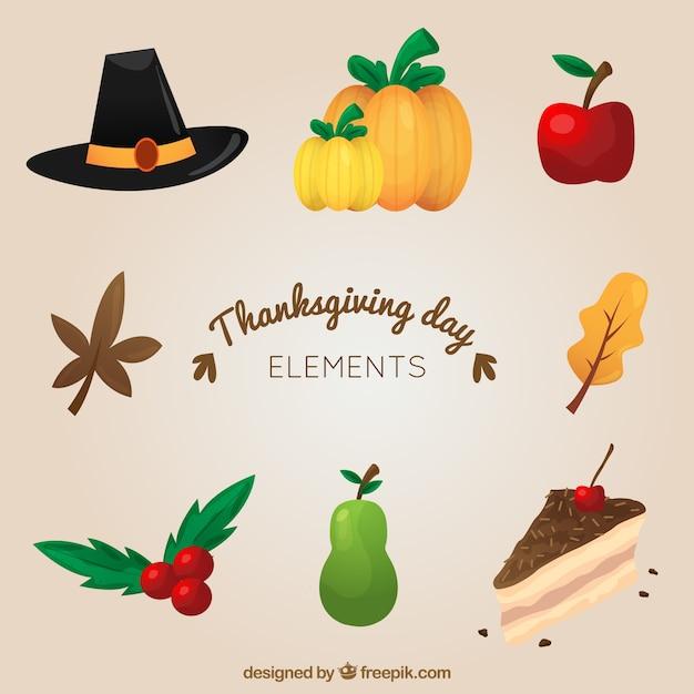 Tradycyjne Elementy Na Dzień Dziękczynienia Darmowych Wektorów