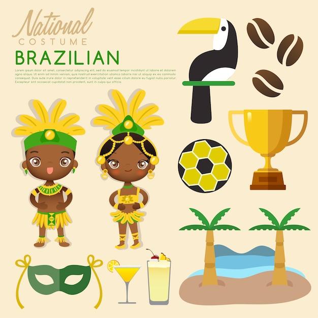 Tradycyjne Stroje Brazylijskie. Premium Wektorów