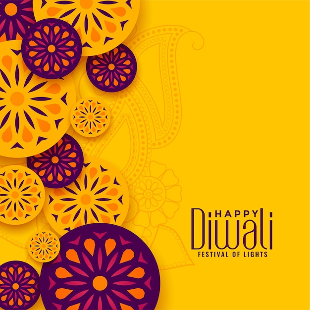 Tradycyjne Szczęśliwego Festiwalu Diwali żółte Powitanie Darmowych Wektorów