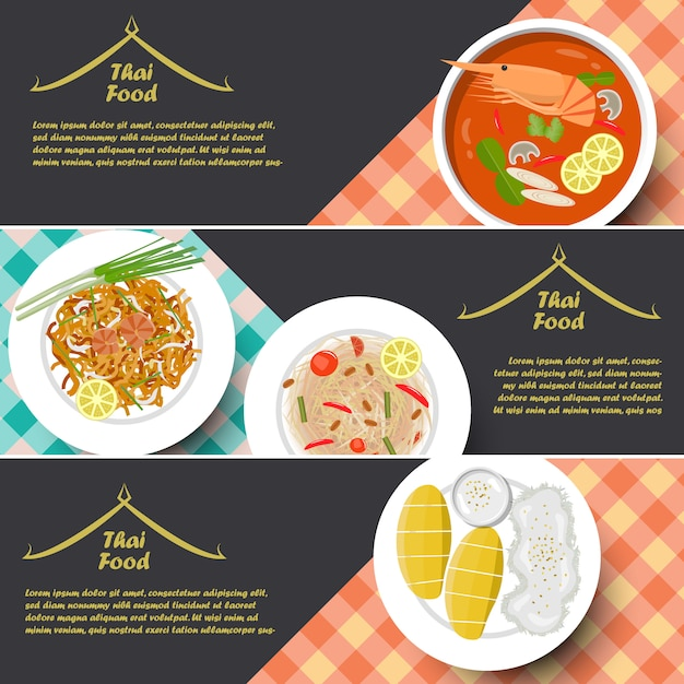 Tradycyjne tajskie jedzenie banner Premium Wektorów
