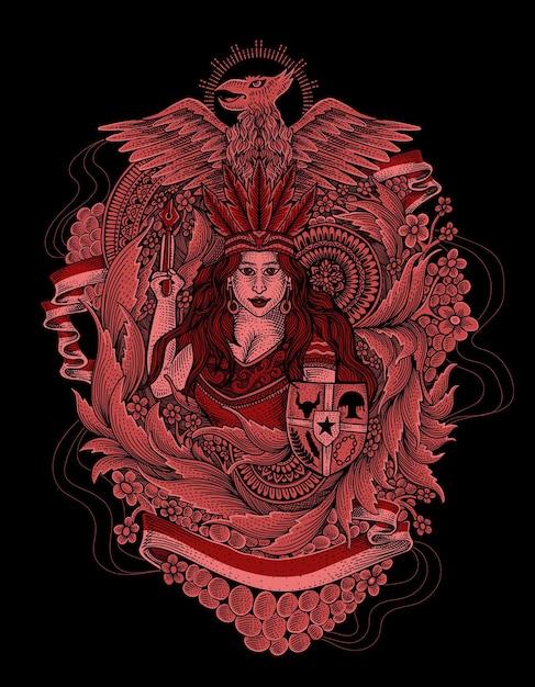 Tradycyjne Ubrania Dayak Indonezja Z Ilustracją Garuda Premium Wektorów