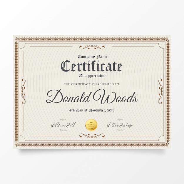 Tradycyjny certyfikat z klasyczną ramą Darmowych Wektorów