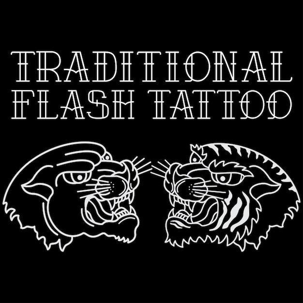 Tradycyjny Tatuaż Głowy Tygrysa I Czarnej Pantery Premium Wektorów