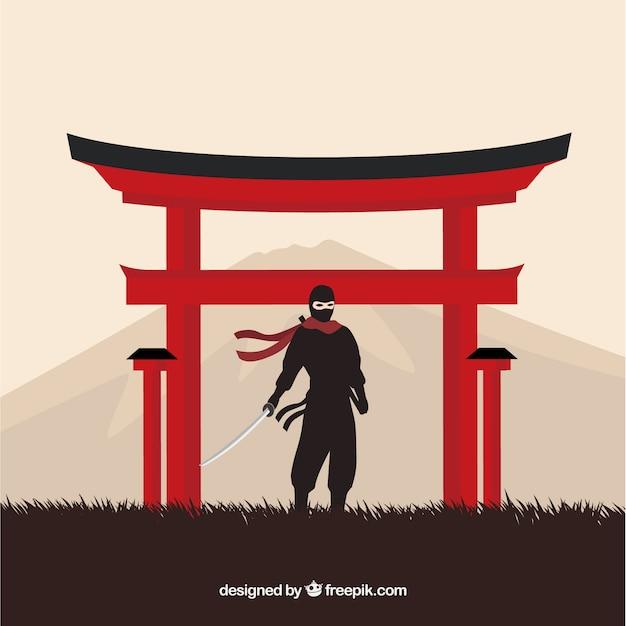 Tradycyjny Wojownik Ninja Tło Z Płaska Konstrukcja Darmowych Wektorów