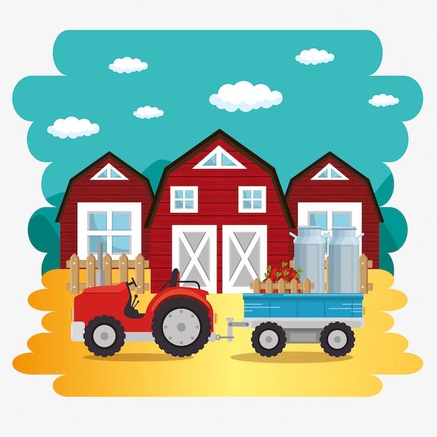 Traktor Na Scenie Farmy Darmowych Wektorów