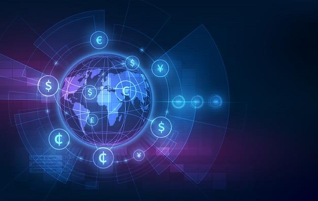 Transfer Pieniędzy. Globalna Waluta. Giełda Papierów Wartościowych. Premium Wektorów