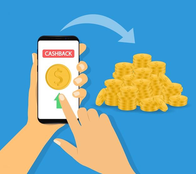 Transfer Pieniędzy. Wysyłaj Pieniądze, Płatności Mobilne. Telefon W Ręku. Premium Wektorów