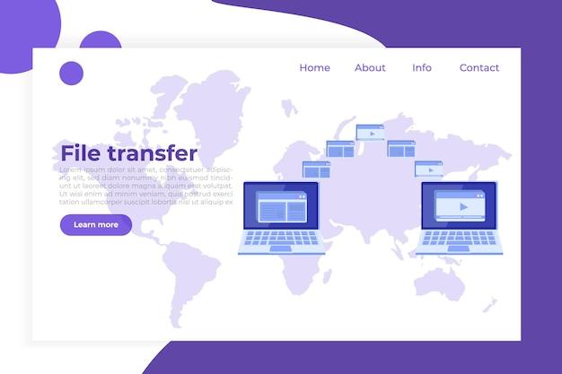 Transfer Plików Na Temat Koncepcji Notebooka. Może Reprezentować Synchronizację. Premium Wektorów