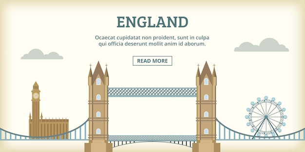 Transparent angielski zabytki poziome, stylu cartoon Premium Wektorów
