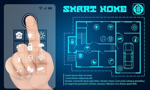 Transparent inteligentnego budynku Premium Wektorów