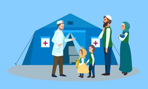 Transparent koncepcja namiot lekarza rodzinnego migrantów, płaski. Premium Wektorów