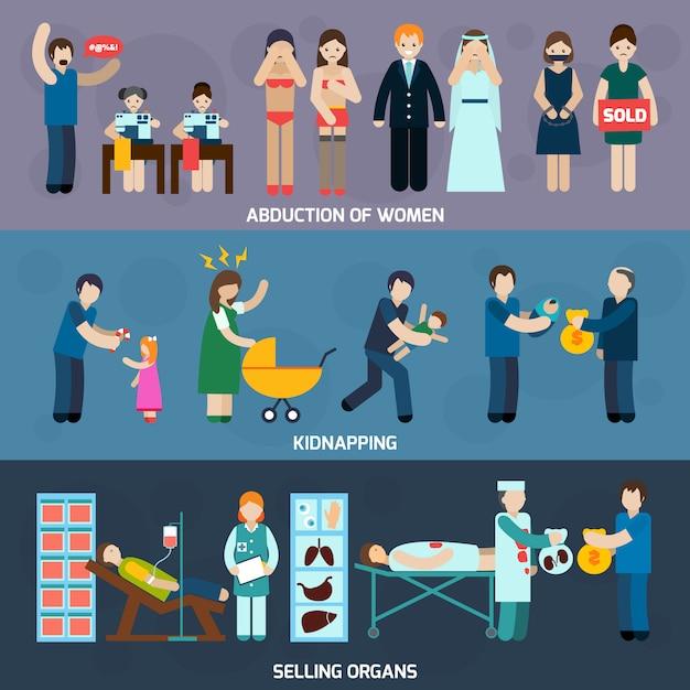 Transparent Poziomy Płaski Handel Ludźmi Darmowych Wektorów