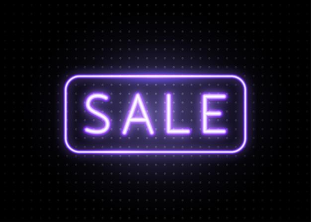 Transparent Sprzedaży Neonowej Z Ramką Linii. świecący, Jasnoniebieski Napis Tekstowy Na Ciemnych Kropkach Darmowych Wektorów