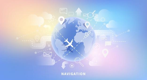 Transparent Wektor Web Nawigacji Mapy, Technologii Geo, Gps. Styl Liniowy I Płaski. świecące Tło. Premium Wektorów