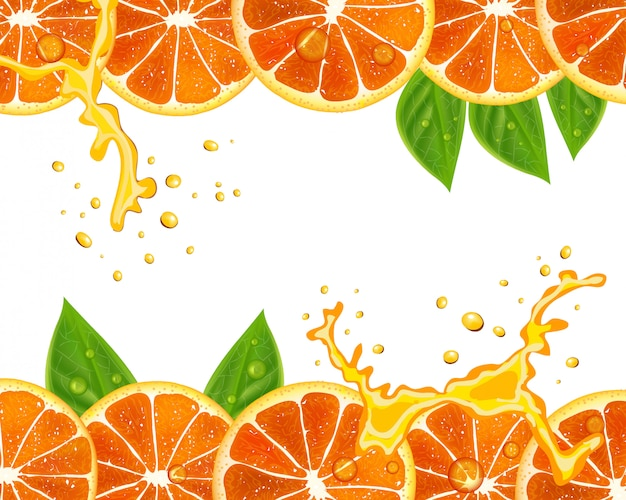 Transparent wektor ze świeżych pomarańczy i liści Premium Wektorów