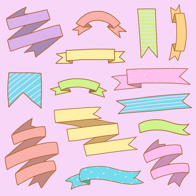 Transparent Wstążka Kolorowy Zestaw Ręcznie Rysować Doodle Premium Wektorów