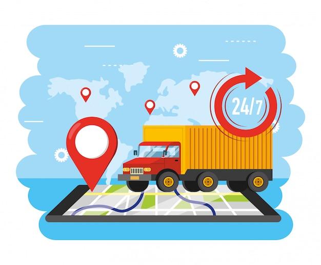 Transport ciężarowy z lokalizacją gps Premium Wektorów
