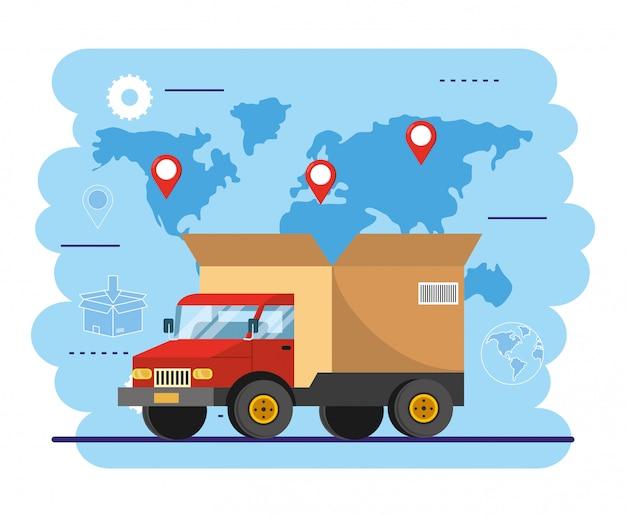 Transport ciężarowy z paczką do klienta Premium Wektorów