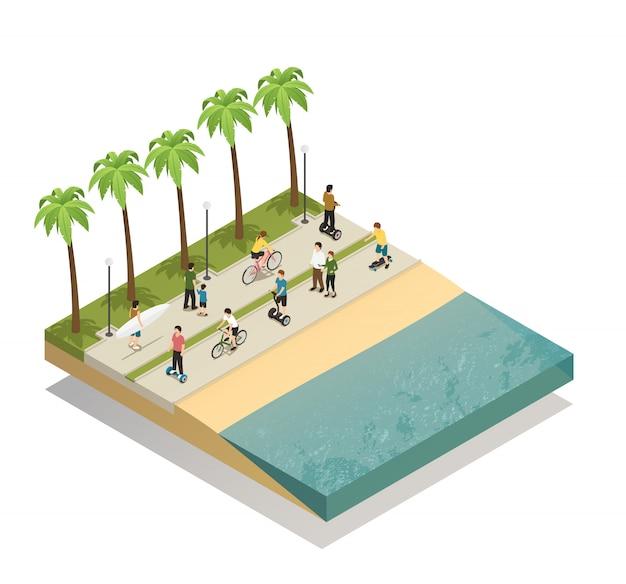 Transport ekologiczny na south beach Darmowych Wektorów