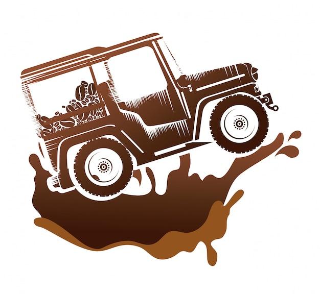 Transport kawy w jeepie Darmowych Wektorów