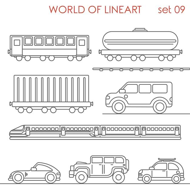 Transport Kolejowy Drogowy Wagon Cysterna Kontener Jeep Al Lineart Set. Kolekcja Sztuki Linii. Darmowych Wektorów