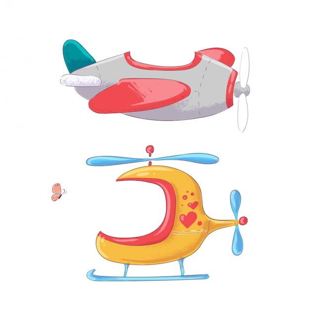 Transport Lotniczy Samolot Helikopter I Balon Styl Rysunek Ręka. Premium Wektorów