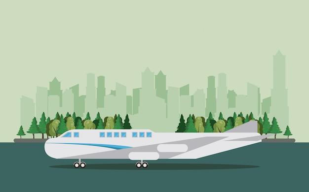 Transport pasażerów komercyjnych samolot kreskówka Darmowych Wektorów