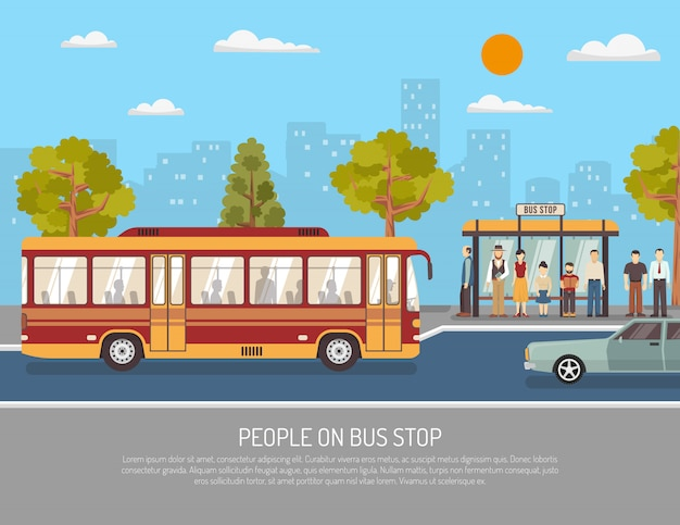 Transport Publiczny Płaski Plakat Autobusowy Darmowych Wektorów