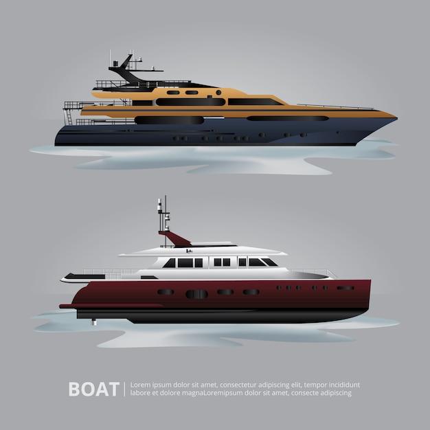 Transportu łódkowaty Turystyczny Jacht Podróżować Wektorową Ilustrację Darmowych Wektorów