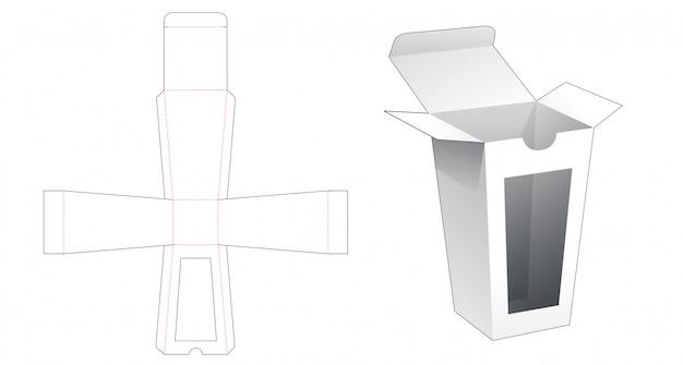 Trapezowe Pudełko Z Szablonem Do Wycinania Okien Premium Wektorów