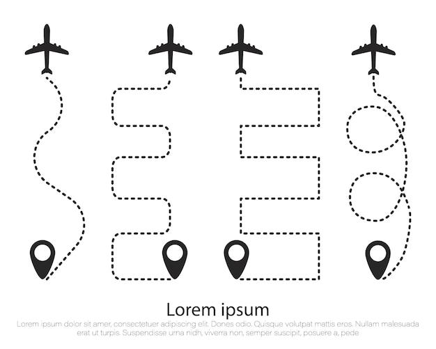 Trasa Samolotu W Kształcie Linii Kropkowanej. Samolot, Tor. Premium Wektorów