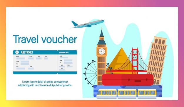 Travel Voucher Website Banner, Szablon Płaski Strony. Premium Wektorów