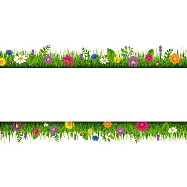 Trawa I Kwiaty Baner Granicy Z Siatki Gradientu, Ilustracji Premium Wektorów