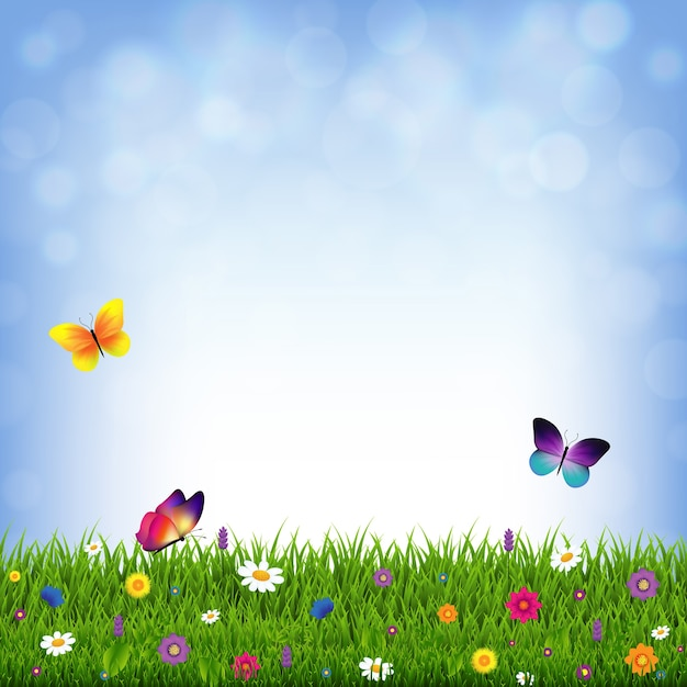 Trawa I Kwiaty Z Siatką Gradientu, Ilustracji Premium Wektorów