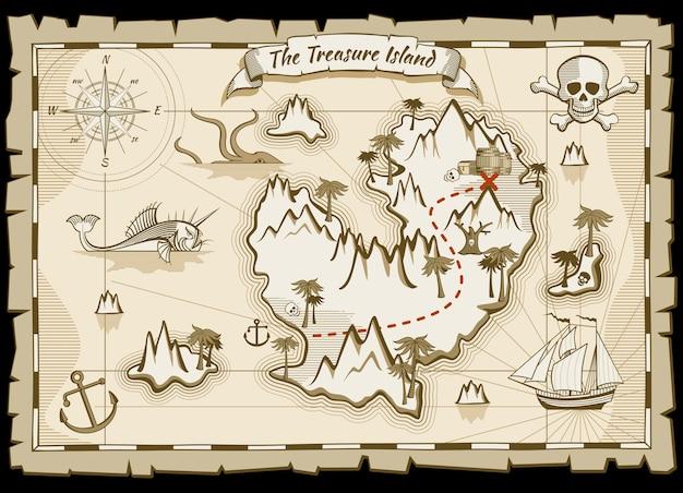 Treasure pirate hand drawn vector map Premium Wektorów