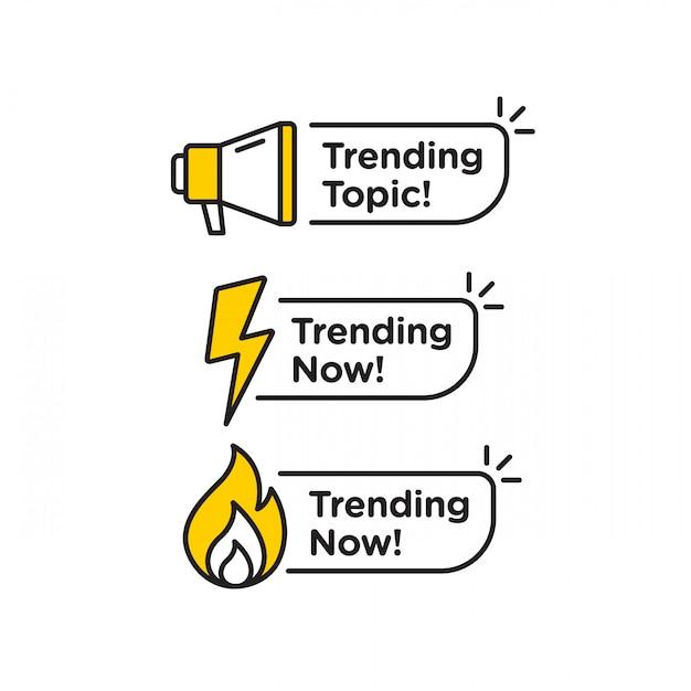 Trend Ikona Wektor Logo Lub Zestaw Symboli Z Czarną żółtą Linią Element Odpowiedni Dla Mediów Społecznościowych I Komunikacji Internetowej. Herby I Banery Wektor Zestaw Na Białym Tle Premium Wektorów