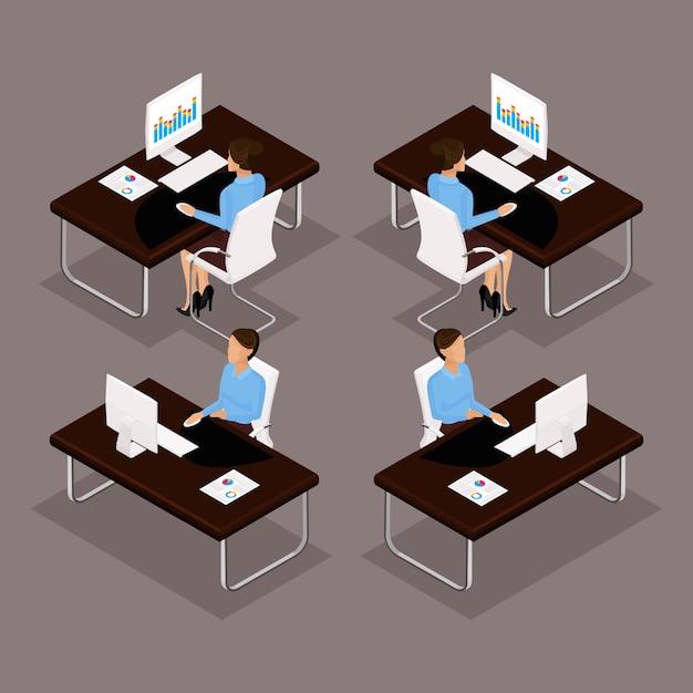 Trendów Izometryczni Ludzie Ustawiają, 3d Biznesowa Dama Pracuje Przy Biurkiem Na Laptopu Widoku Z Przodu, Widok Z Tyłu, Stylowa Fryzura, Pracownik Biurowy Mężczyzna W Garniturze Na Białym Tle. Ilustracje Wektorowe Premium Wektorów