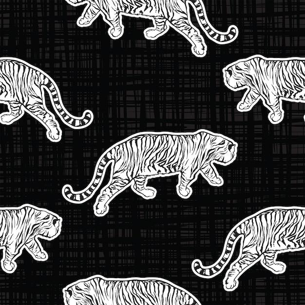 Trendy Tiger Safari Jednolity Wzór Wektor Ręcznie Rysowane Fajny Styl Na Teksturze Premium Wektorów