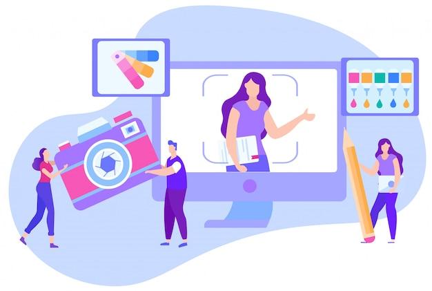 Trening Online Dla Fotografii Korekcji Kolorów. Premium Wektorów