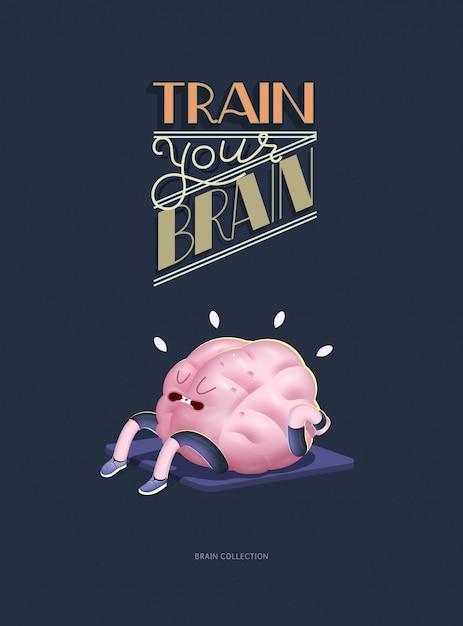 Trenuj swój mózg plakat z napisem, bieganie Premium Wektorów