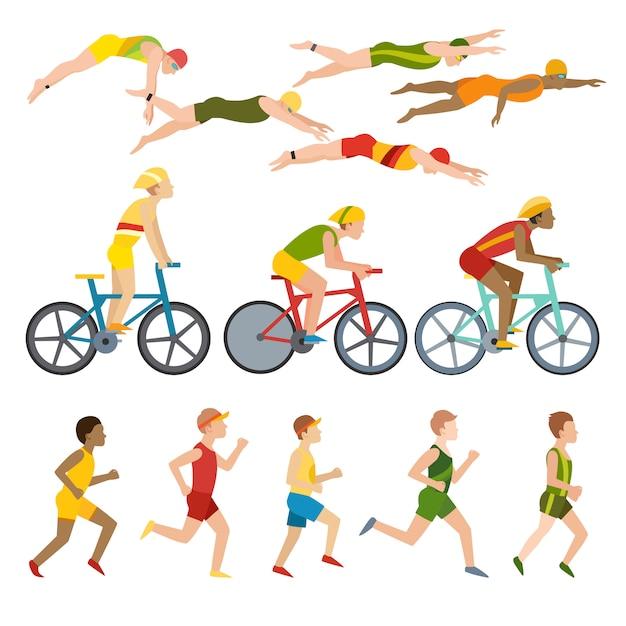 Triathlon, Pływanie, Bieganie I Triathlon Na Rowerze. Sport Fitness W Pływaniu, Bieganiu I Triathlonie. Premium Wektorów