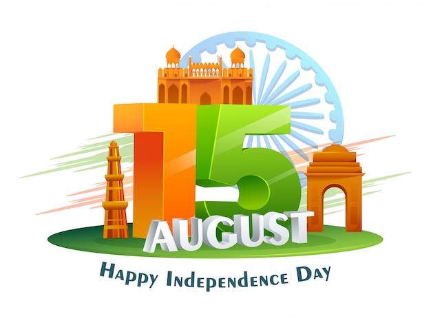 Tricolor 15 Sierpnia Tekst Z Indyjskimi Słynnymi Zabytkami I Koło Ashoki Na Białym Tle Na Szczęśliwy Dzień Niepodległości. Premium Wektorów
