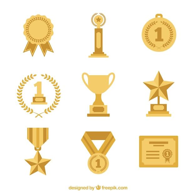 Trofea Ustawione W Płaskiej Konstrukcji Premium Wektorów