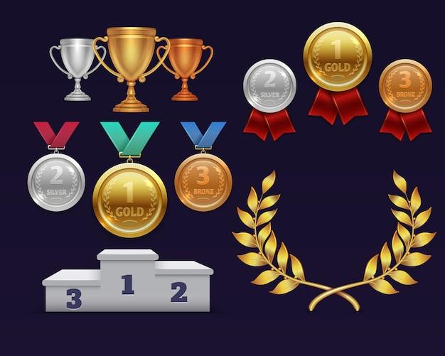 Trofeum nagradza złoty puchar i złoty wieniec laurowy, medale i podium sportowe Premium Wektorów