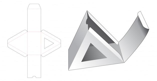 Trójkątne Pudełko Kartonowe Z Szablonem Wycinanym W Oknie Premium Wektorów