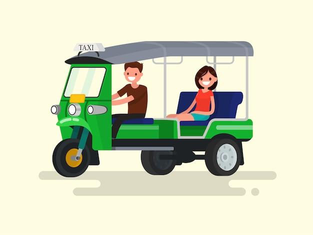 Trójkołowa Taksówka Kierowcy I Pasażera Ilustracja Tuk-tuk Premium Wektorów