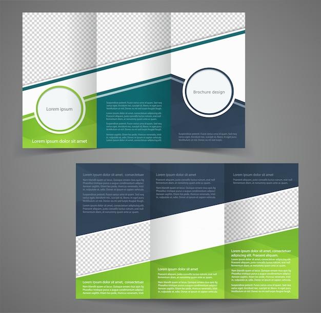 Trójstronny szablon broszury biznesowej, dwustronny szablon Premium Wektorów