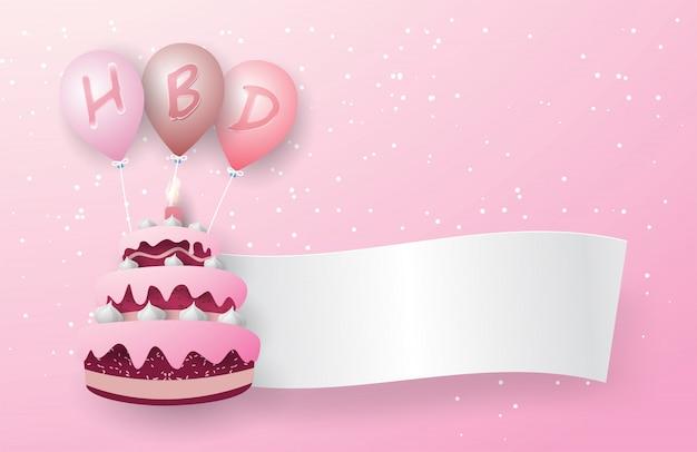 Trójwarstwowe Różowe Ciasto Unosi Się Z Trzema Różowymi Balonami. Na Balonie Widnieje Litera Hbd, A Z Ciasta Unosi Się Biała Flaga. Na Różowym Tle. Premium Wektorów