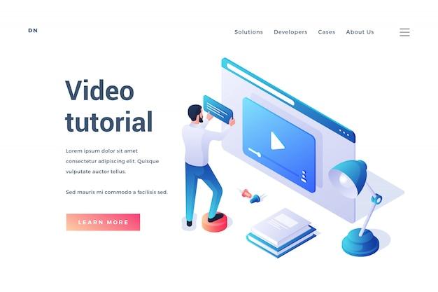 Trójwymiarowy Projekt Szablonu Strony Internetowej Z Mężczyzną Uczącym Się Online Dzięki Wygodnej Usłudze Samouczka Wideo Na Białym Tle Premium Wektorów